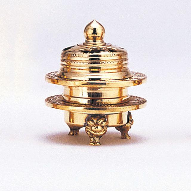 火舎香炉彫刻入金メッキ