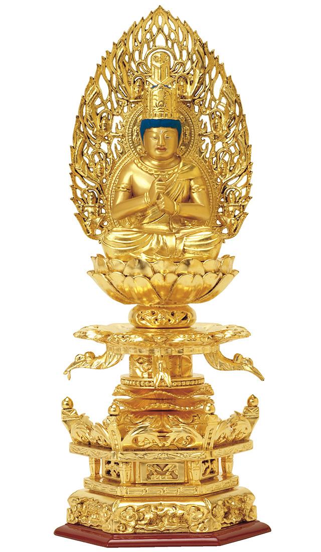 総木製 純金箔押 京型六角台座 ケマン付 大日如来 吹蓮華