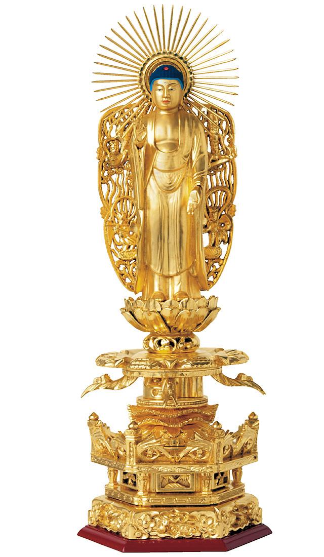総木製 純金箔押 京型六角台座 ケマン付 西立弥陀 吹蓮華