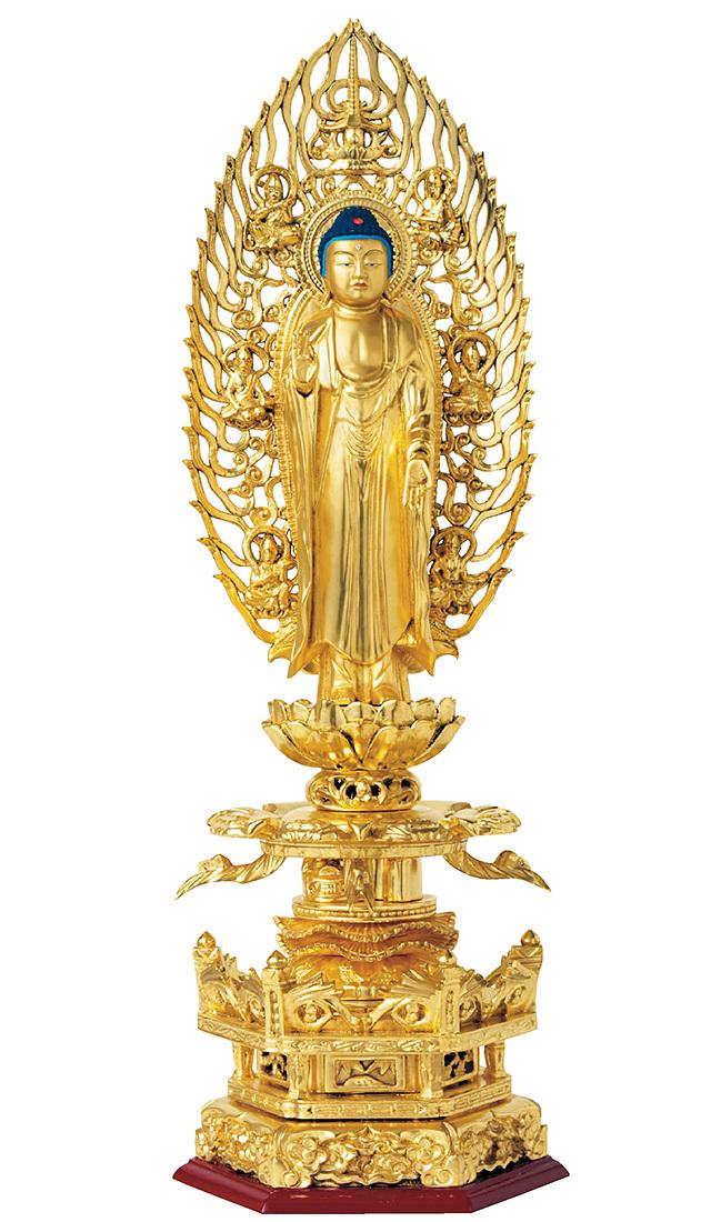 総木製 純金箔押 京型六角台座 ケマン付 舟立弥陀 吹蓮華