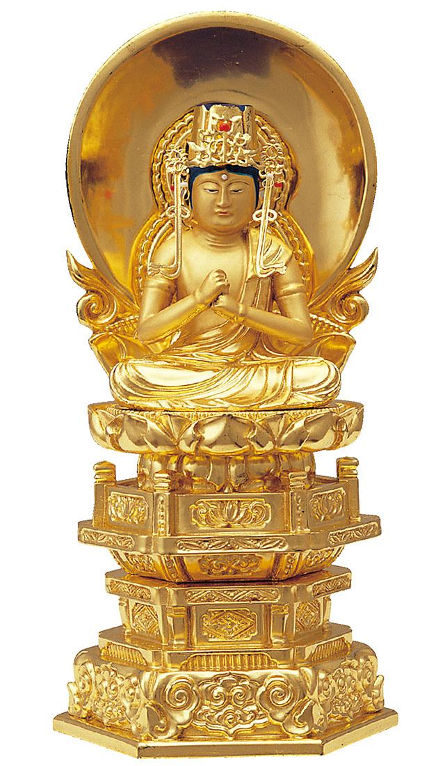 純金箔押 中京型 七重台座 大日如来 肌金粉仕上げ