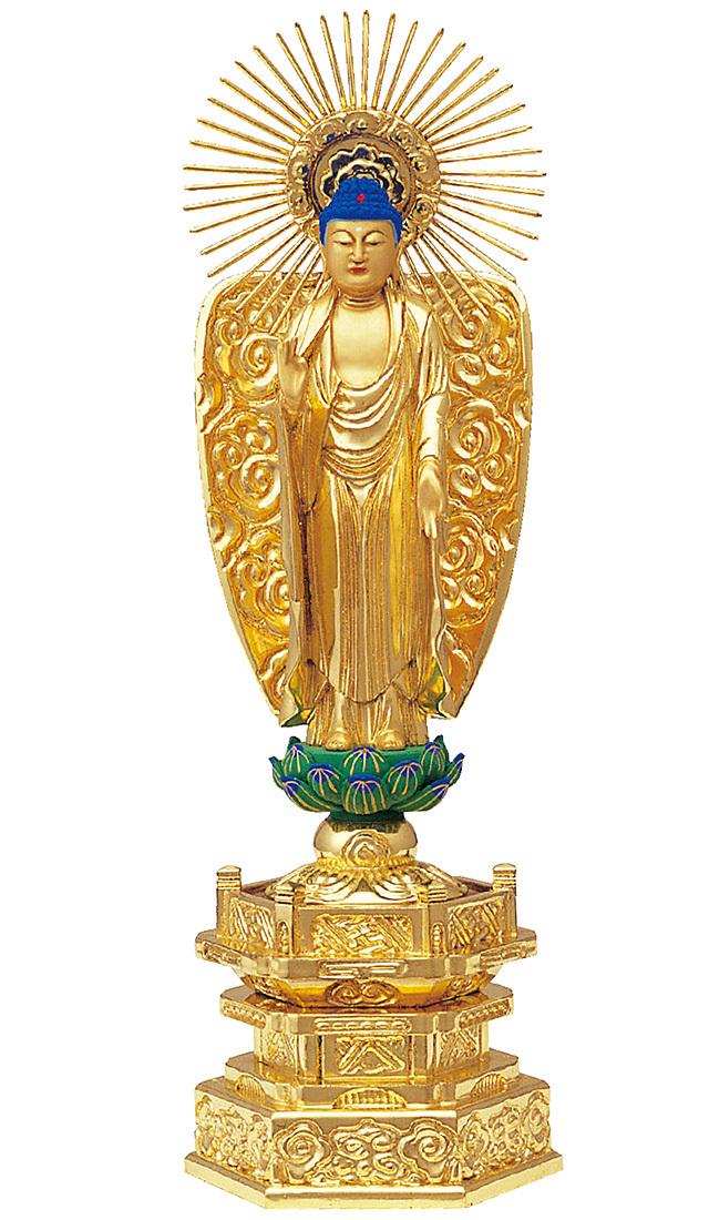 純金箔押 中京型 七重台座 西立弥陀 肌金粉仕上げ