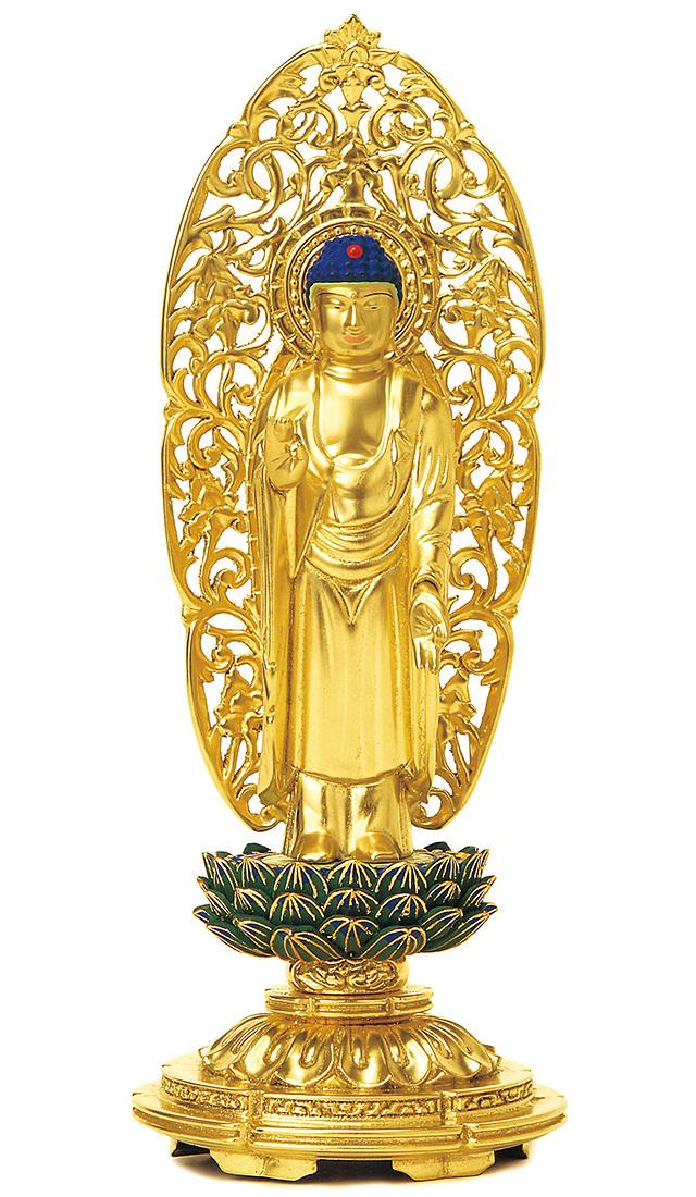 総木製 純金箔押 平安丸台座 舟立弥陀 肌金粉仕上げ 青蓮華