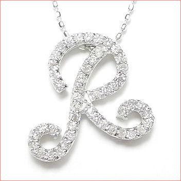 【送料無料♪】 妥協のない高品質全面ダイヤモンド♪ K18ホワイトゴールド フルオーダー 【R】イニシャル ダイヤモンド ペンダント
