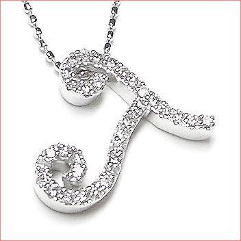 【送料無料♪】 妥協のない高品質全面ダイヤモンド♪ K18ホワイトゴールド フルオーダー 【T】イニシャル ダイヤモンド ペンダント