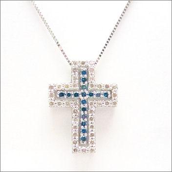 【即日発送可!取り外して色々なパターンで使えます♪】 K18ホワイトゴールド ブルーダイヤモンド/ダイヤモンド ペンダント PNWG028ODH