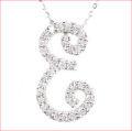 【送料無料♪】 妥協のない高品質全面ダイヤモンド♪ K18ホワイトゴールド フルオーダー 【E】イニシャル ダイヤモンド ペンダント