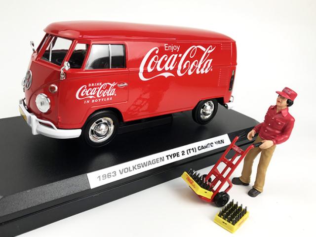 Coca-Cola VW タイプ 2 T1 カーゴバン レッド 1963 フィギュア アクセサリー付