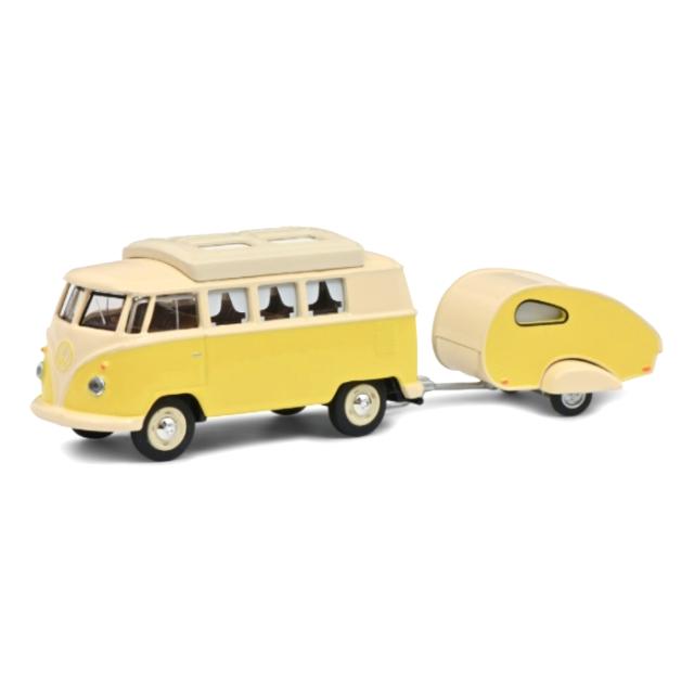 Schuco/シュコー VW T1 Camper トレーラー付 イエロー/ベージュ