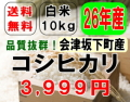 本州限定・送料無料!!28年産!!会津坂下町産コシヒカリ【白米10kg】5kg×2