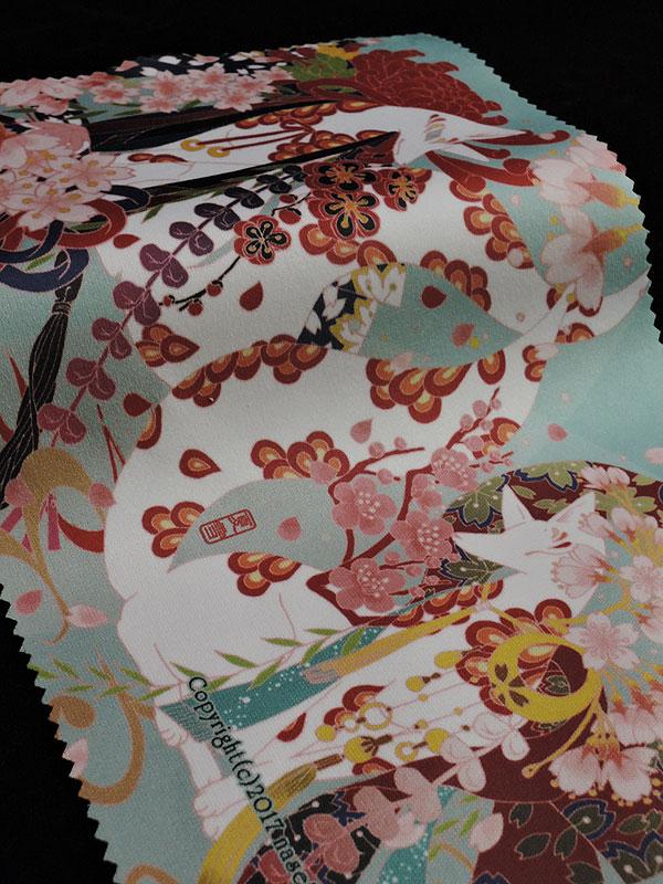 ファイバークロス「桜と白狐」