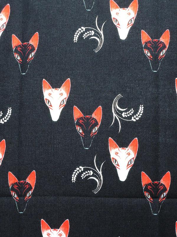 手拭い「白狐・黒狐の狐面」