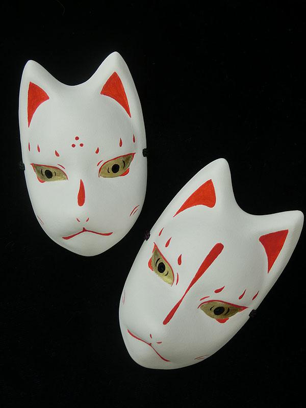 絵本狐堂:ミニ子狐面(赤)