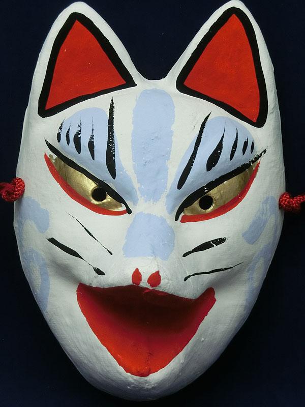 京都きつね面・白|口開け