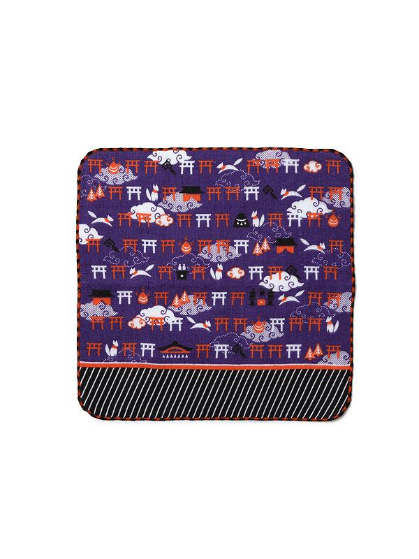 タオルはんかち ‐雨の稲荷【紫】‐