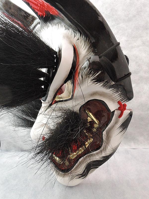 石見神楽面:悪狐(黒毛・眉毛有)