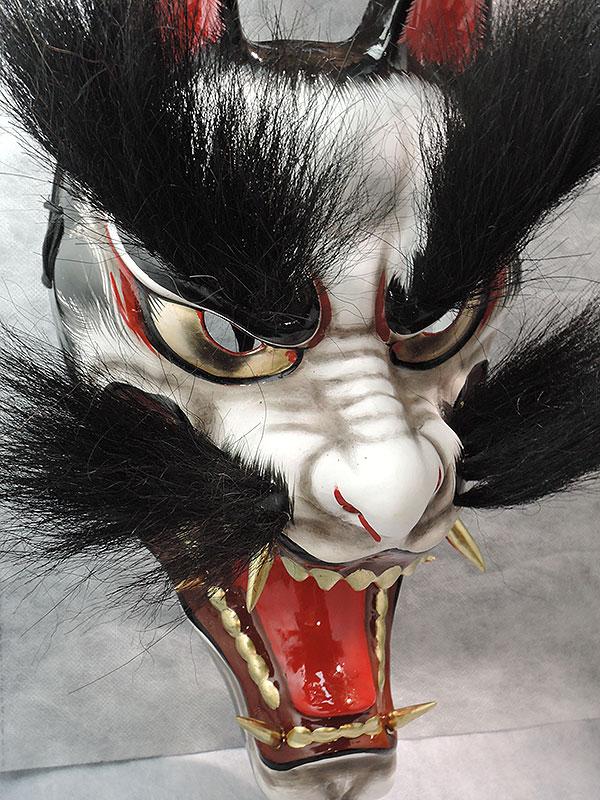 石見神楽面:悪狐(黒毛・大・眉毛有)