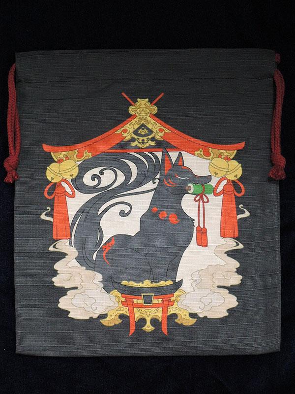 巾着「狐の社」(中)
