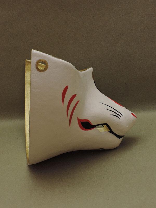 狐口面「銀」≪羽二重張り≫