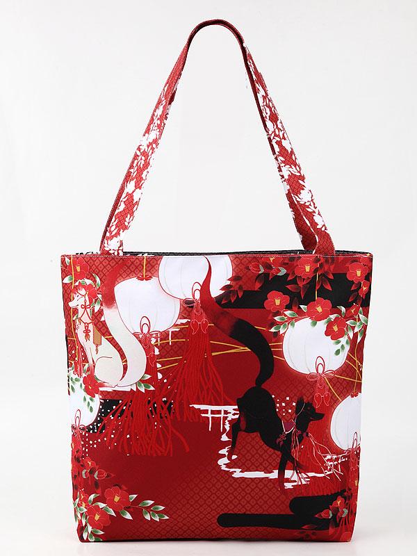 ファスナーバッグ「椿と狐」