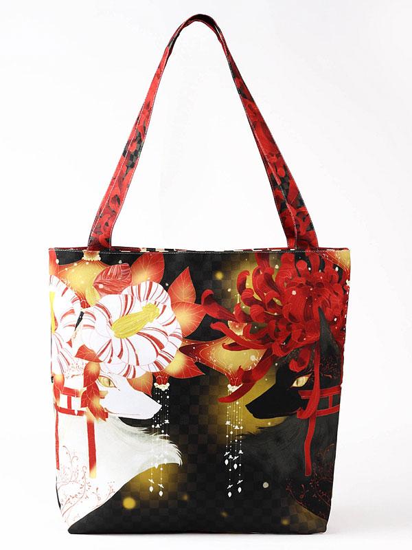 ファスナーバッグ「菊花椿花狐」