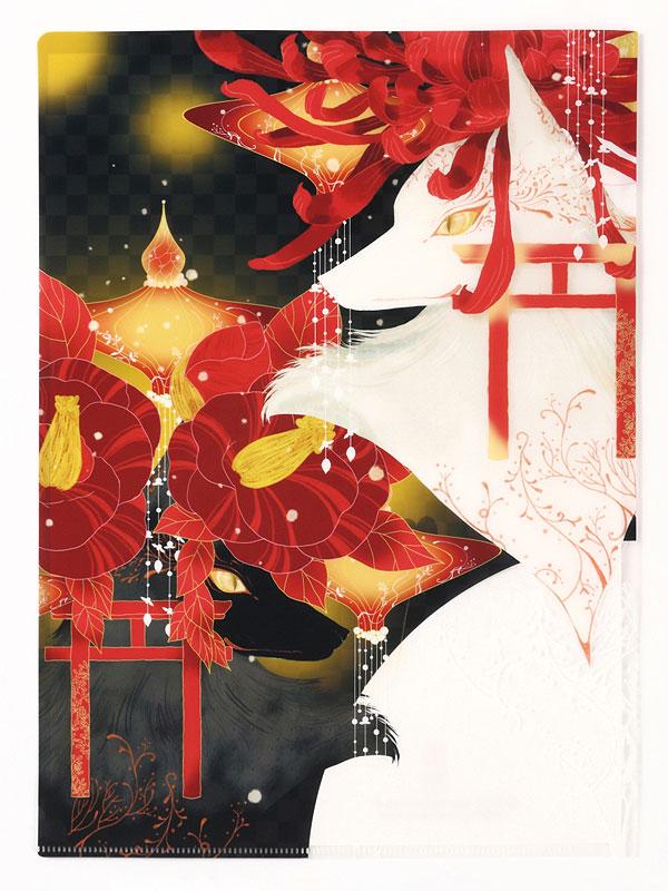 クリアファイル「菊花椿花狐」