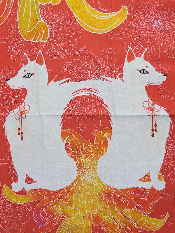 手拭い「狐と菊」