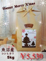クリスマス限定デザインMYBABY米ギフト魚沼産5kg