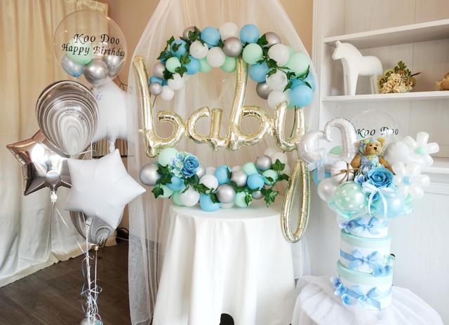 浮くバルーン バルーンケーキ バルーンリース ベビーシャワー 出産祝い 誕生祝い ベイビーブルーベビーシャワーセット