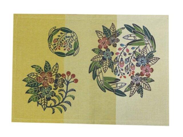 紅型ランチョンマット 月桃とイジュの花 (琉球ぴらす)