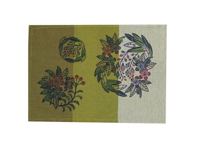 紅型ランチョンマット 月桃とイジュの花・緑 (琉球ぴらす)