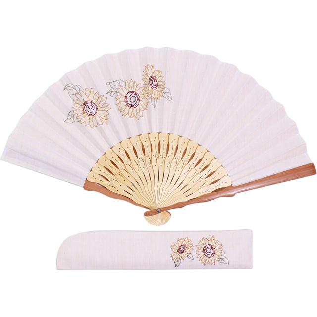 ボタニカル刺繍扇子セット 向日葵