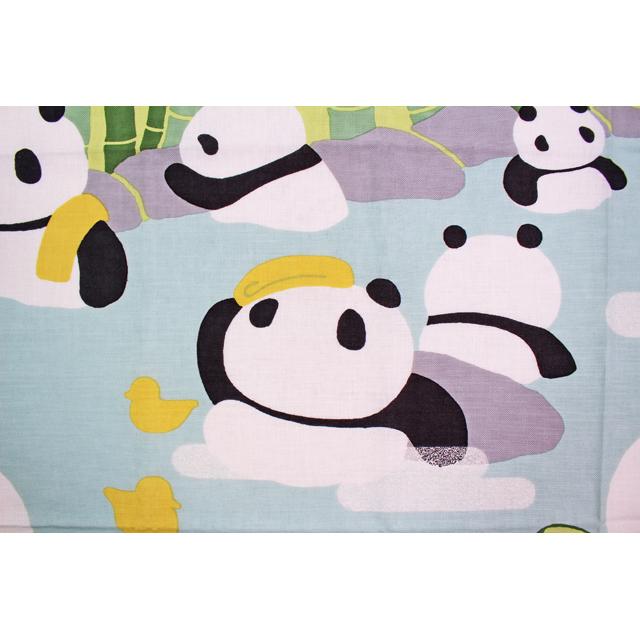 濱文様の絵てぬぐい 極楽パンダ