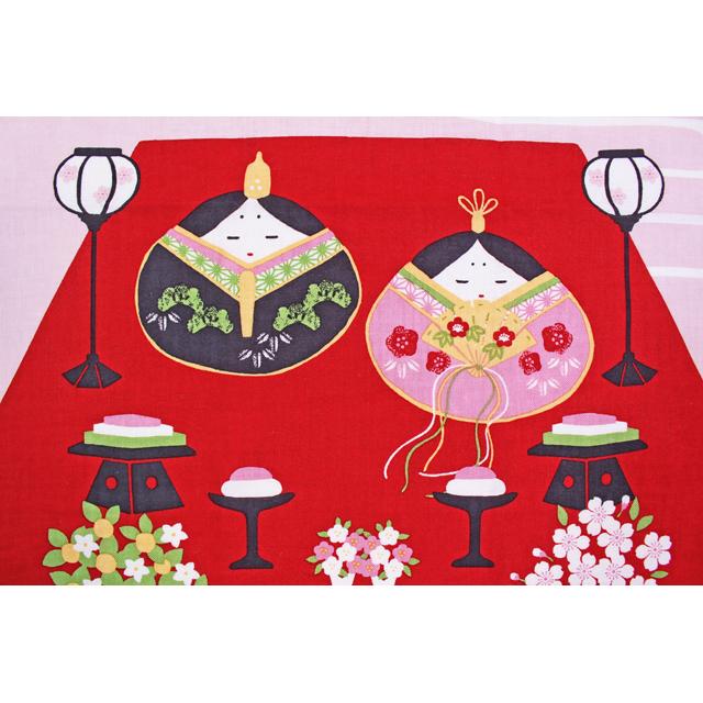 濱文様の絵てぬぐい 貝雛と桃の花