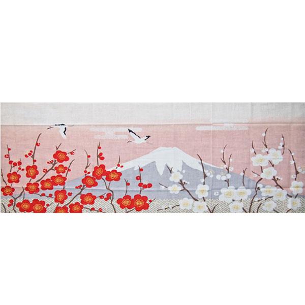 濱文様の絵てぬぐい「富士山と紅白梅」