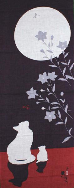 濱文様の絵てぬぐい「月と猫」