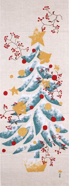 濱文様の絵てぬぐい「もみの木とサンキライ」