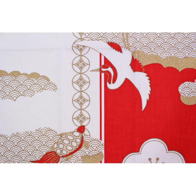 濱文様の絵てぬぐい 祝い紅白鶴亀