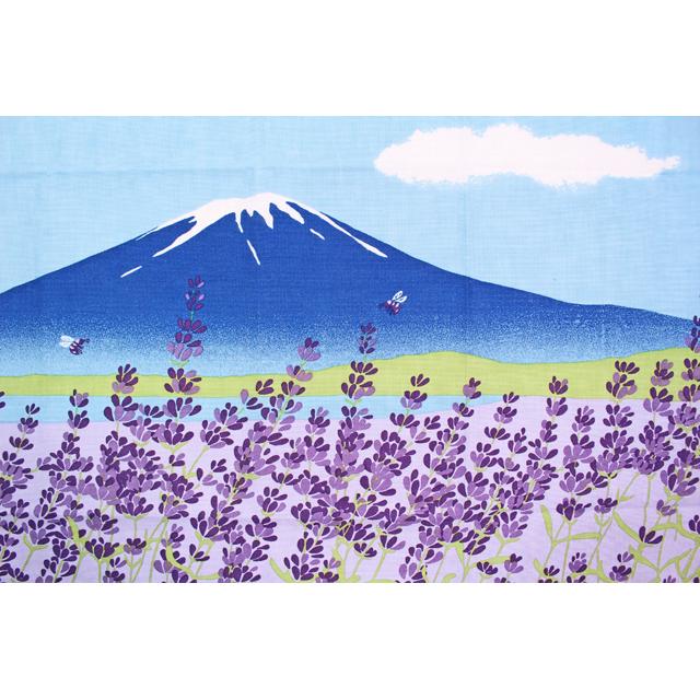 濱文様の絵てぬぐい ラベンダー畑と富士山