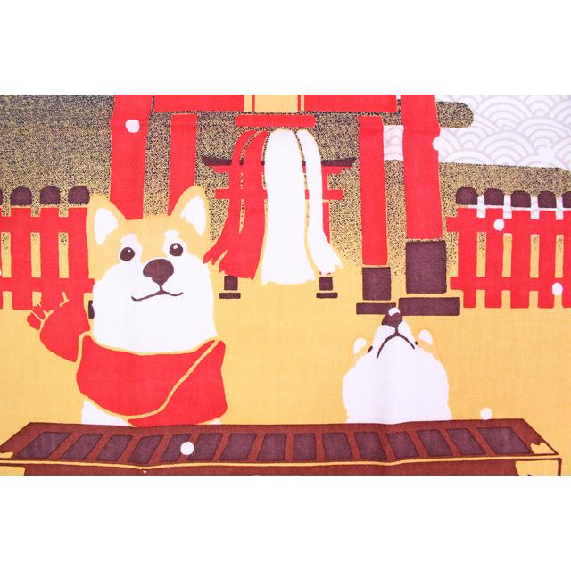 濱文様の絵てぬぐい 豆柴の初詣