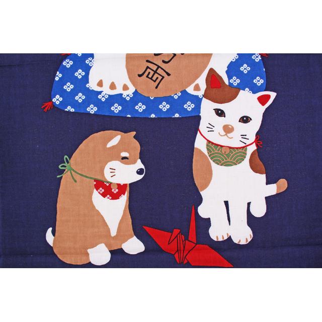 濱文様の絵てぬぐい 招き猫と友だち