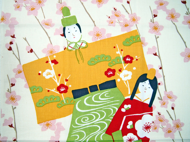 濱文様の絵てぬぐい 桃の花とひな人形