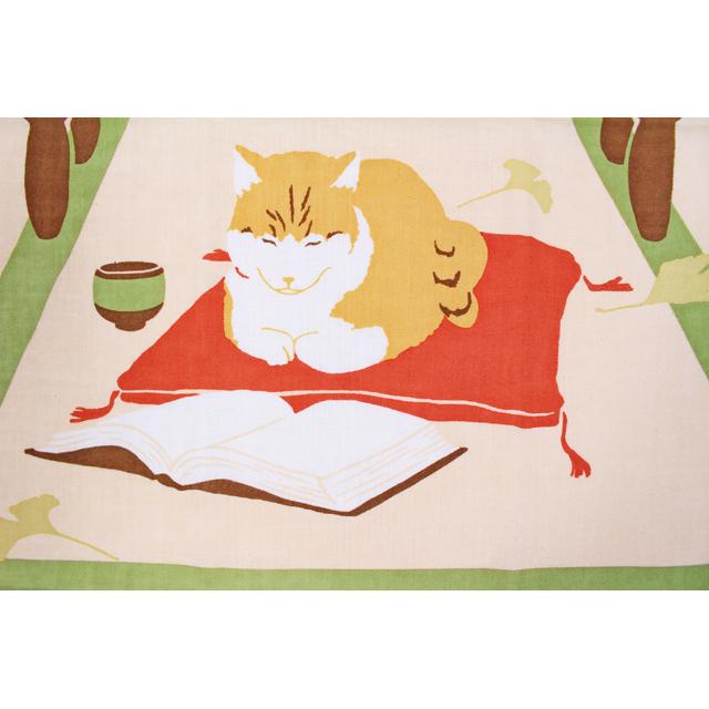 濱文様の絵てぬぐい 猫ばあちゃん 読書の秋