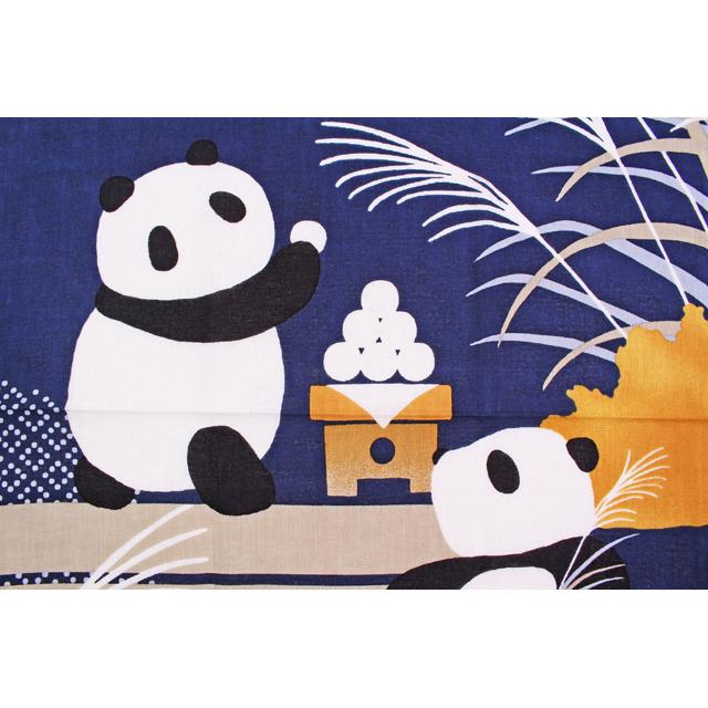 濱文様の絵てぬぐい パンダのお月見