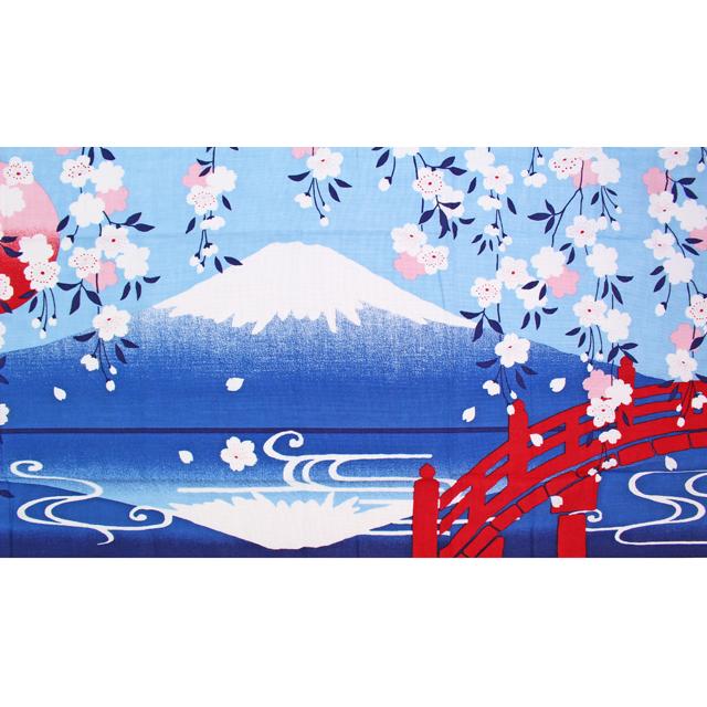 濱文様の絵てぬぐい 枝垂れ桜にさかさ富士