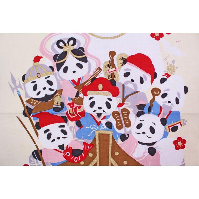 濱文様の絵てぬぐい 七福神パンダ