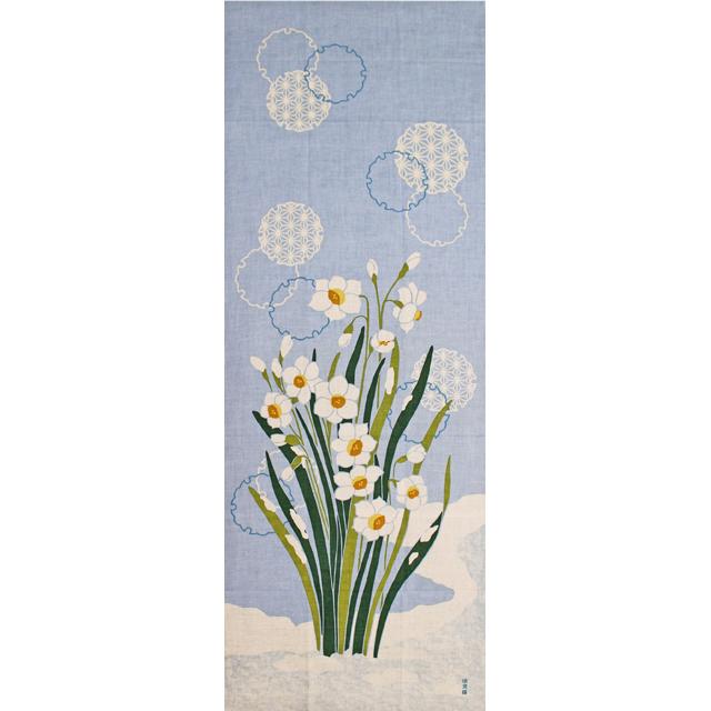 濱文様の絵てぬぐい 水仙と雪輪図