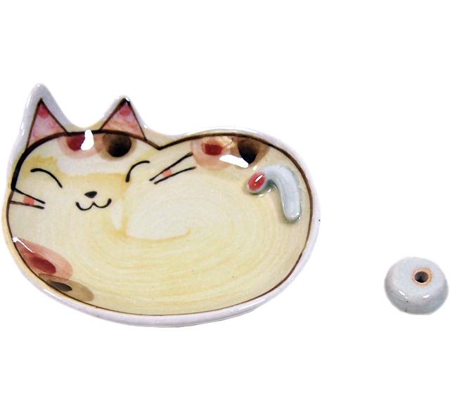 手描き猫香立 ブチ