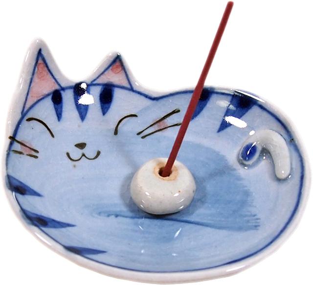 手描き猫香立 トラ