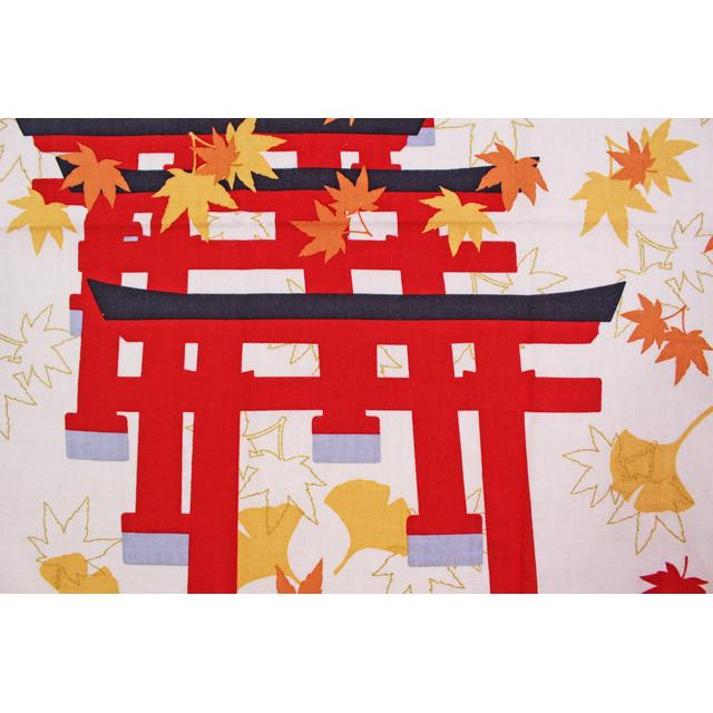 濱文様の絵てぬぐい 鳥居と紅葉